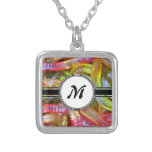 Candy Gummie Sweets Monogram Pattern Silver Plated Necklace