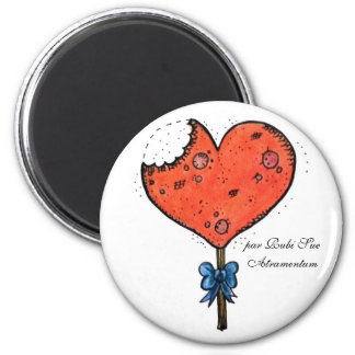 Candy heart 2 inch round magnet