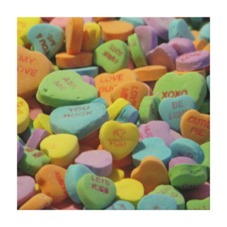 Candy Heart Be Mine I love you Texture Template Canvas Print