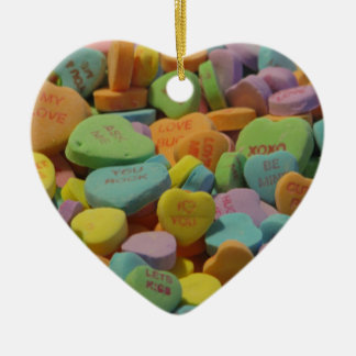 Candy Heart Be Mine I love you Texture Template Ceramic Ornament