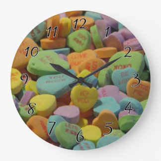 Candy Heart Be Mine I love you Texture Template Large Clock