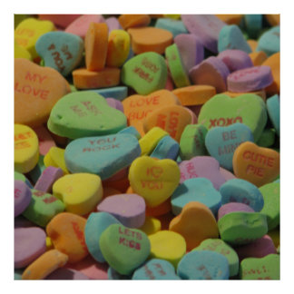 Candy Heart Be Mine I love you Texture Template Poster
