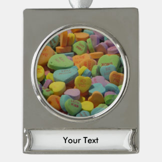 Candy Heart Be Mine I love you Texture Template Silver Plated Banner Ornament