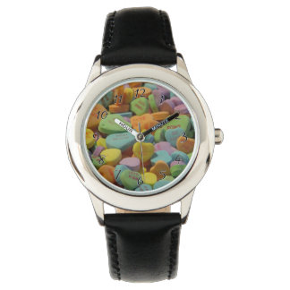 Candy Heart Be Mine I love you Texture Template Wrist Watches