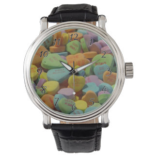 Candy Heart Be Mine I love you Texture Template Wristwatch