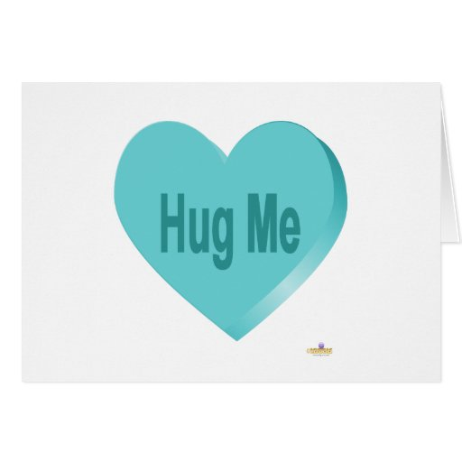 Candy Heart Blue Hug Me Greeting Cards