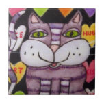 Candy Heart Purple Cat Valentine Small Square Tile
