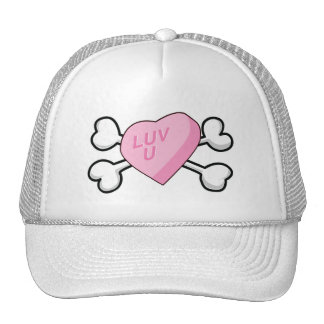candy heart Skull and Crossbones Trucker Hat