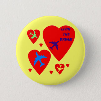 Candy Heart Valentine Airplane Button