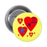 Candy Heart Valentine Airplane Button