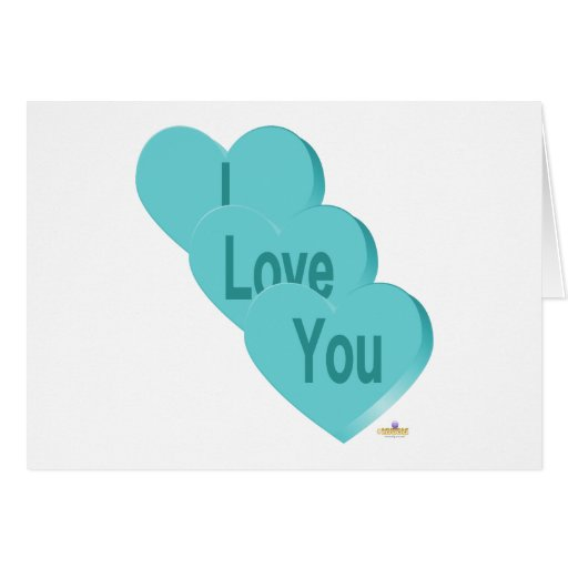 Candy Hearts Blue I Love You Greeting Card