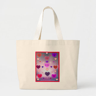 Candy Hearts by Diamante Lavendar! Large Tote Bag