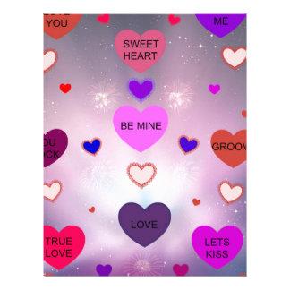 Candy Hearts by Diamante Lavendar! Letterhead