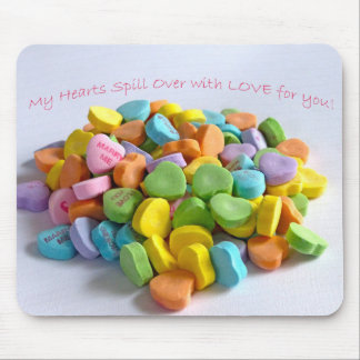 Candy Hearts Card Mouse Pad