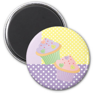 Candy Hearts Cupcakes 2 Inch Round Magnet