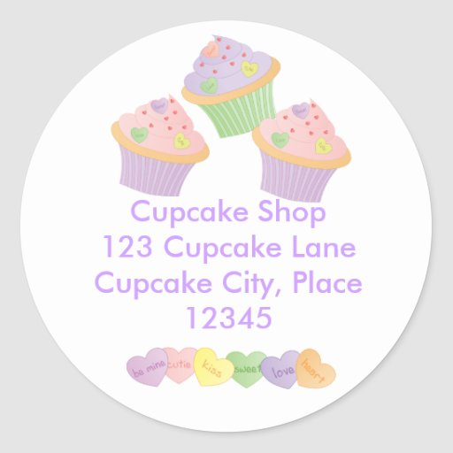 Candy Hearts Cupcakes Classic Round Sticker