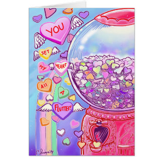 Candy Hearts Gumball Machine Valentine Card