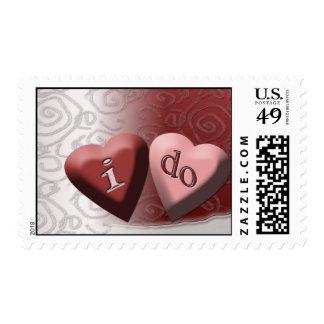 "Candy hearts ""i do"" Wedding Postage"