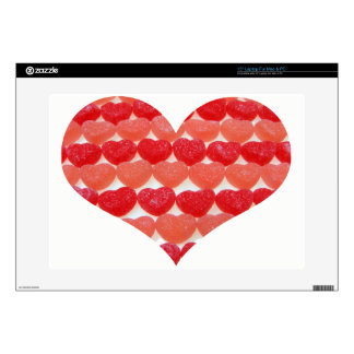 Candy Hearts In A Row, Heart Shaped Skins For Laptops