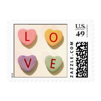 Candy Hearts Love Postage Stamps