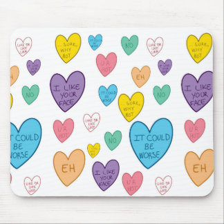 Candy Hearts Mouse Pad