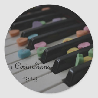 Candy Hearts on Keyboard 1 Cor. 13:1-3 Classic Round Sticker