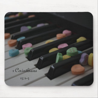 Candy Hearts on Keyboard 1 Corinthians 13:1-3 Mouse Pad