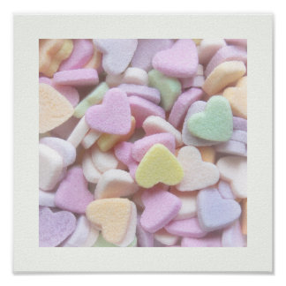 Candy Hearts Pastel Colors poster