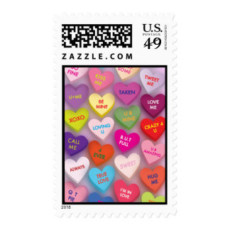 Candy Hearts Postage Stamp