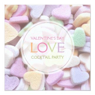 """Candy Hearts Valentine's Day Party Invitation 5.25"""" Square Invitation Card"""