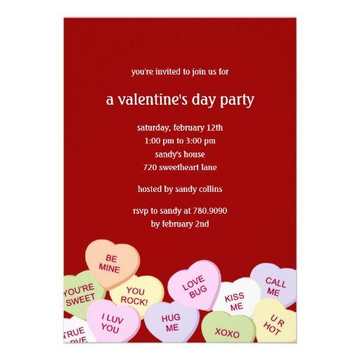 Candy Hearts Valentine's Party Invitation
