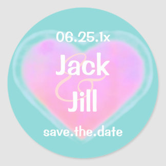 Candy Hearts WEDDING Save The Date Classic Round Sticker