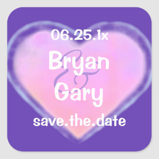 Candy Hearts WEDDING Save The Date Square Sticker