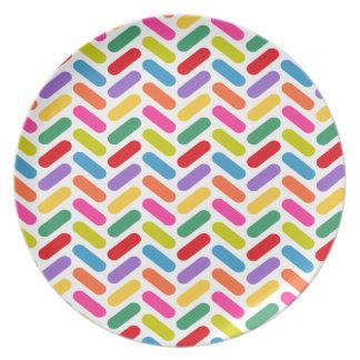 Candy Herringbone Pattern Dinner Plate