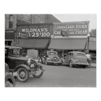 Candy & Ice Cream Shop, 1938. Vintage Photo Poster