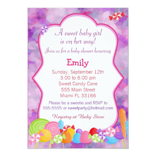 candy invitation baby girl shower pink purple zazzle
