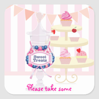 Candy Jar and Cupcakes Favor Sticker