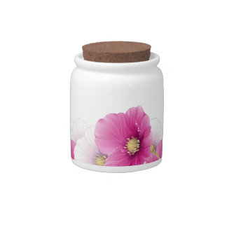 Candy Jar Floral Pink Flowers White Decor Sets
