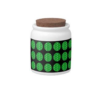 Candy Jar Green Glitter Circles On Black