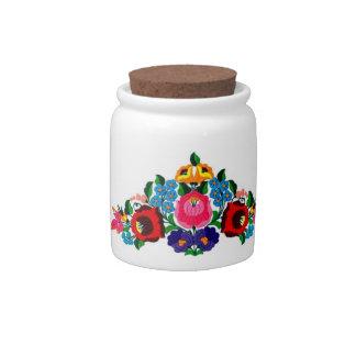 candy jar hungarian embroidery kalocsai