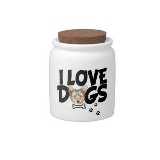 "candy jar ""I love dogs"""