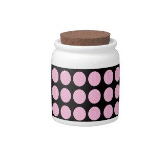 Candy Jar Pink Glitter Circles On Black
