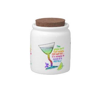 CANDY JAR, SNACK JAR - GLASS HALF FULL