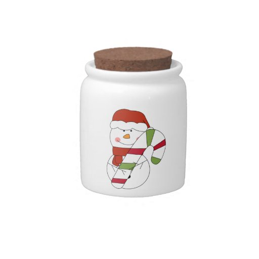 CANDY JAR SNOWMAN WITH CANE