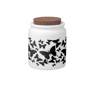 Candy jar with butterfly pattern in black
