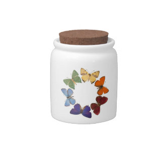 Candy jar with butterfly ring