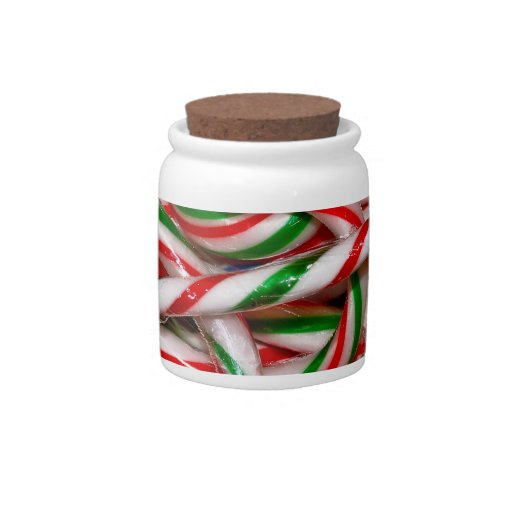Candy jar with candy canes