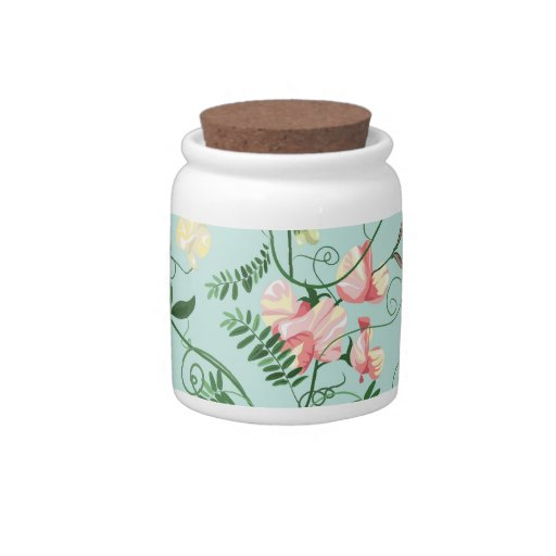 Candy jar with decorative sweet pea flowers