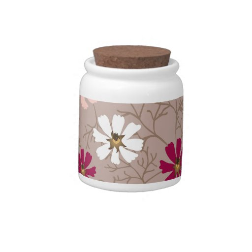 Candy jar with tender floral background.