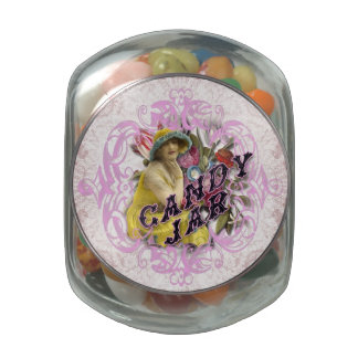 Candy Jar with Vintage Label on Lid Glass Candy Jars
